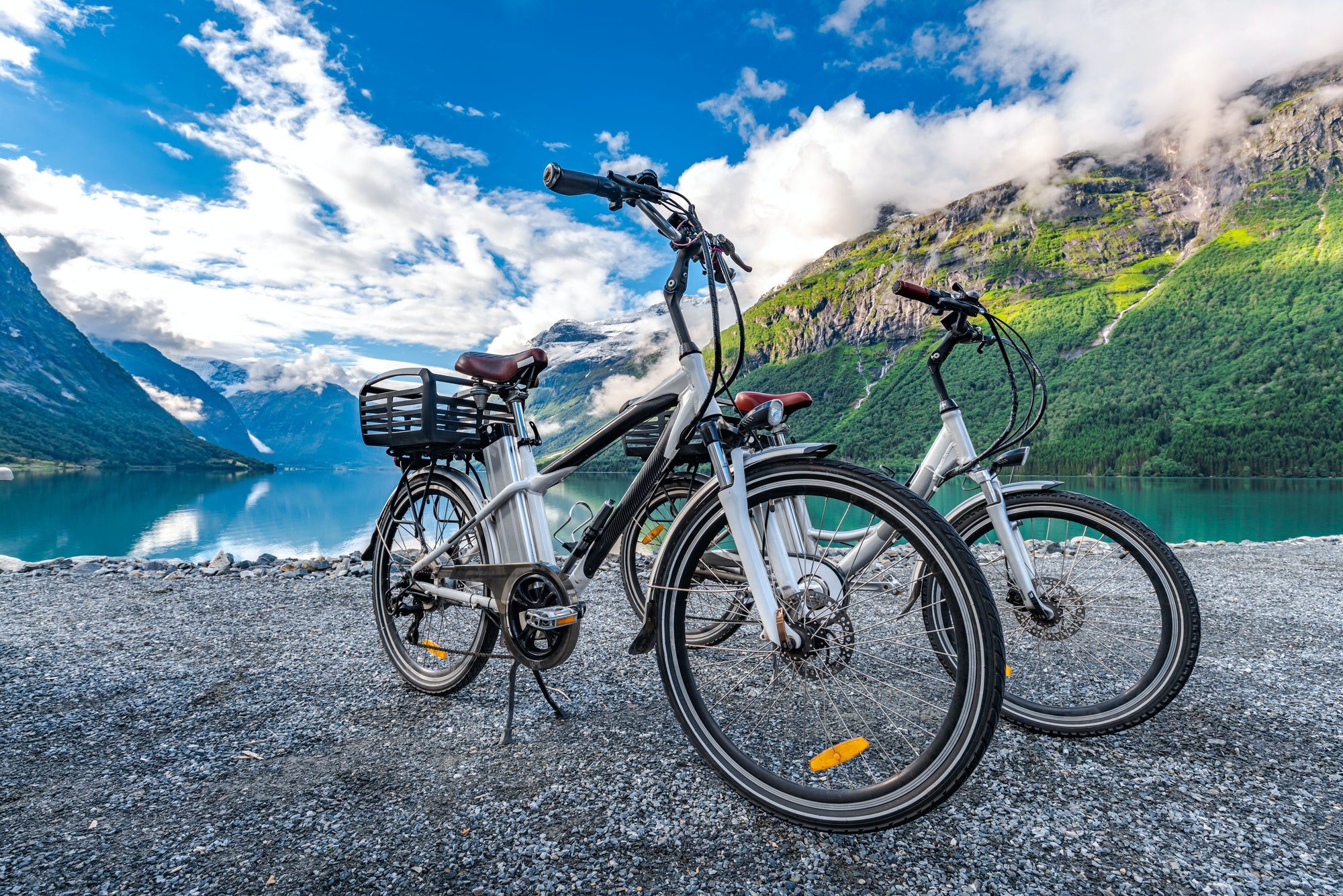 Electric bicycle on the background of nature Norway