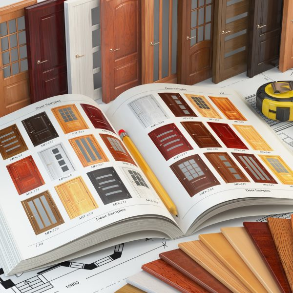 Wooden doors, cataiog with samples of doors and wood samples on